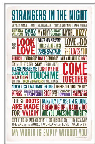 1960s love song poster from TypographyShop