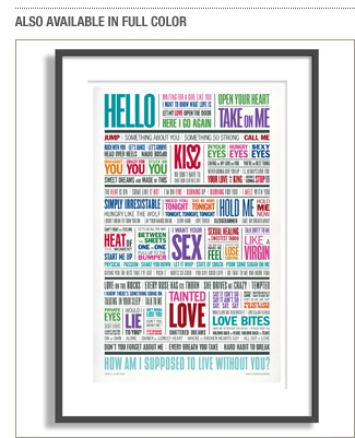 1980s love song poster from TypographyShop