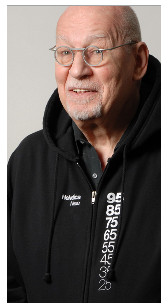 Helvetica Neue hoodie modeled by George Lois.