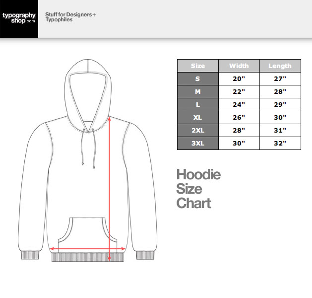 Typography Shop Hoodie Size Chart