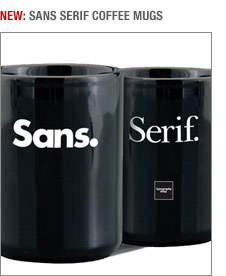 New Sans Serif coffee mugs